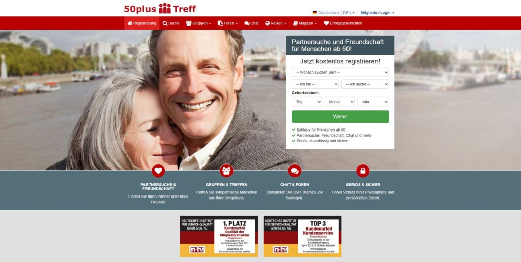 50plus-treff screenshot - Singlebörse 50
