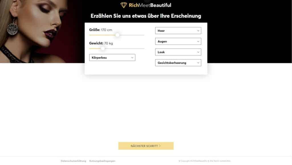 RichMeetBeautiful Registrierung